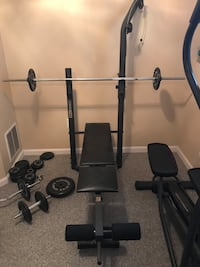 Weight Bench with Dumbells, Bars, and various weights  Chantilly, 20152