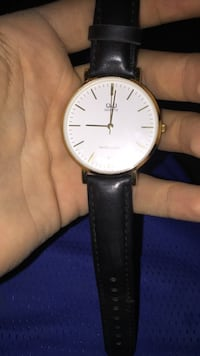 round gold-colored analog watch with black leather strap Columbus, 43224
