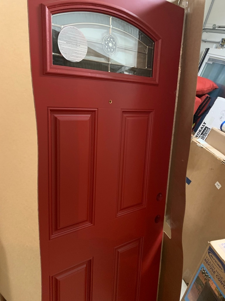 New, Masonite 1/4 Lite Decorative Glass Right Hand Inswing Roma Red Painted