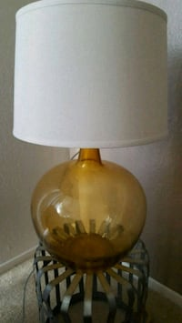 Yellow Glass Lamp with Shade