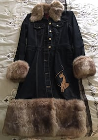BABYPHAT Denim & Fur Trim Coat/New