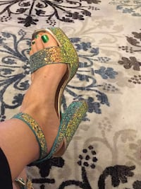 green and brown open toe ankle strap heels Glen Burnie, 21061