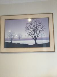 rectangular brown-framed bear tree painting Montréal, H8Y 3J5