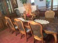rectangular brown wooden table with six chairs dining set HENDERSON