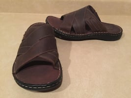 Men's Size 10 M Denver Hayes Quad Comfort Leather Slide Slippers