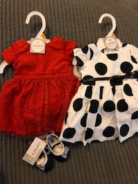 Dresses, tiny shoes for newborn