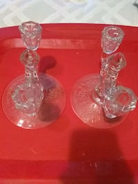 Pair of beautiful etched candle holders