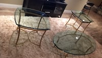 brass metal footed frame clear top glass end tables Skippack, 19438