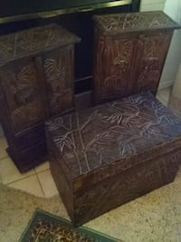 Elephant & Bamboo Carved Trunk and Side Tables