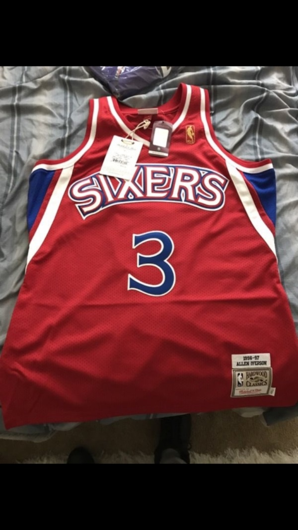red, white, and blue 76ers basketball jersey