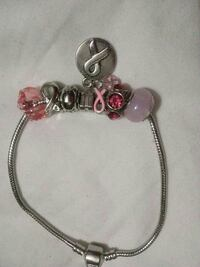 silver, purple, and pink bracelet