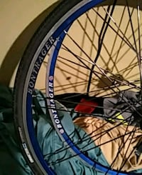 blue and white bicycle wheel Houston, 77017
