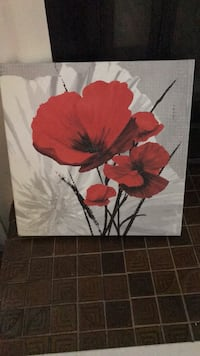 red and white poppy flowers painting 165 mi