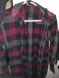 Red and black plaid dress shirt