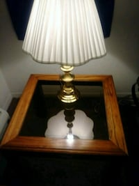 brown wooden base white shade table lamp Melbourne, 32935