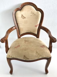 Queen Anne Style Arm Chair Solid Wood Upholstered Vintage Maumee, 43537