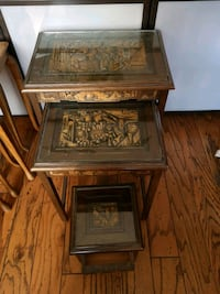 3 hand carved nesting tables Airdrie, T4A 1G4