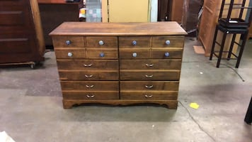 vintage 6 drawer dresser cabinet with cool knobs