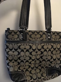 Black and gray coach tote bag