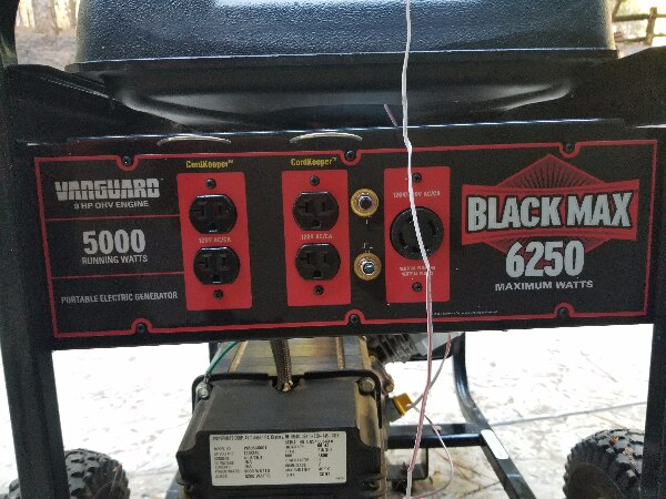 Vanguard 6250 watts Black max generator and whole house transfer box