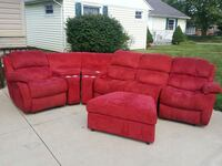 red fabric sectional sofa with ottoman Newark, 43055