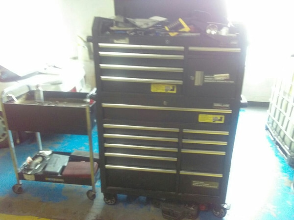 black and gray tool chest