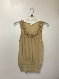 Women's MINE Cotton/nylon ruffle neckline sleeveless top… Size small
