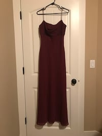 Maroon, Spaghetti Strap Prom Dress with Matching Heels