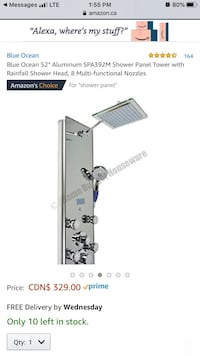New, still in the box shower panel tower, with rainfall shower head. Toronto, M9B 6A5