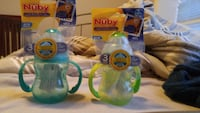 2 assorted nuby feeding bottles