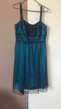 Women's blue and black sheer overlay thick strap sweetheart mini dress West Lincoln, L0R