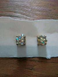 two silver-colored and green gemstone earings Easthampton, 01027