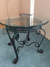 High end glass and metal end table