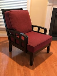 Espresso Wood and Ruby Tweed Fabric Arm Chair 26 km