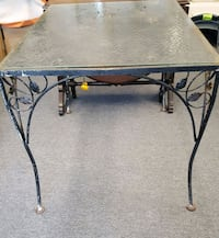 vintage wrought iron glass top table Matamoras, 18336