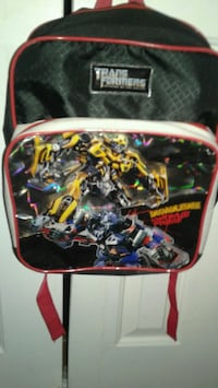 red, yellow, and black Transformer backpack