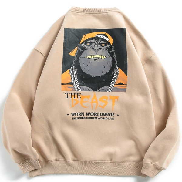 GRAFFITI THE BEAST ORANGUTAN PRINT VELVET CREW NECK SWEATSHIRT  0