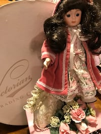Pretty Victorian Small Porcelain Doll with long Dark hair Gainesville, 20155
