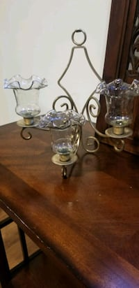 Wall candle holder brass and glass vintage