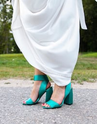 Gorgeous high heeled sandals, emerald green. Oslo, 0262