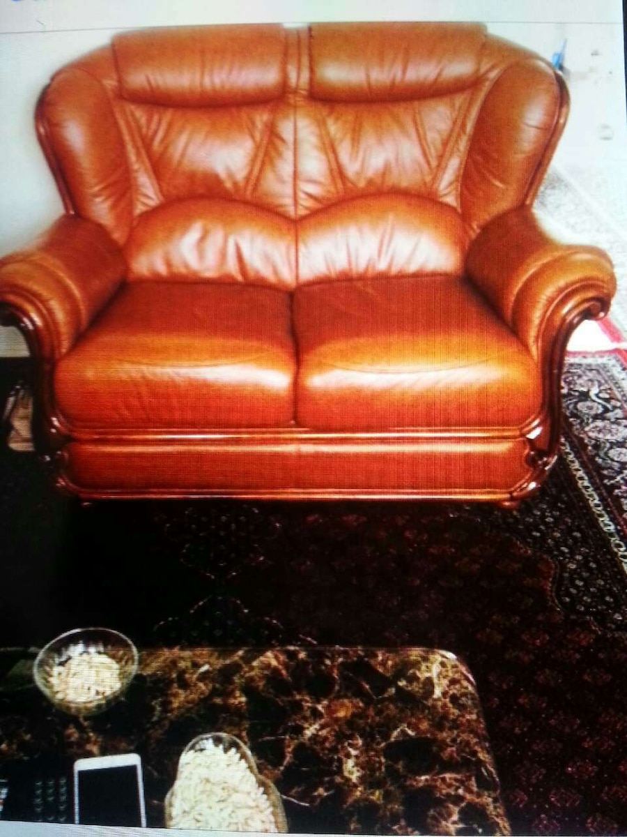 brown leather 2-seat sofa