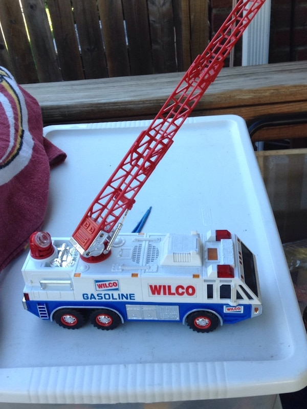 white and red Hess truck toy