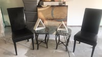 Two Black chairs with matching side tables. Smoke Free and Pet Free Home. Paint included if you like