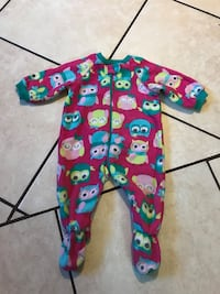 baby's red and multicolored owl printed footie pajama