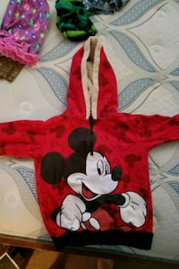 red and white Minnie Mouse print textile