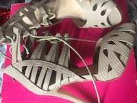 pair of gray open-toe ankle strap heels Melrose Park, 60160