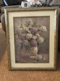 white and pink flower painting with brown wooden frame Pearl City, 96782