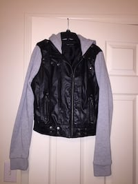 Black and Gray pleather jacket. Sz.M. Must Go! Negotiable