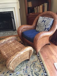 Pottery Barn Malabar Wicker rattan cane chairs with coordinating ottoman Gaithersburg, 20877