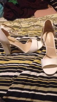 pair of white leather open-toe wedges St. Catharines